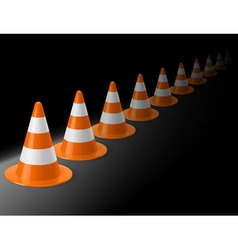 Row of traffic cones vector