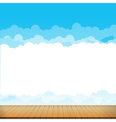 Brown wood floor with blue sky rainbow background vector image
