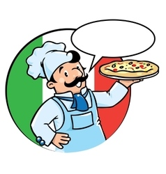 Emblem of funny cook or baker with pizza vector