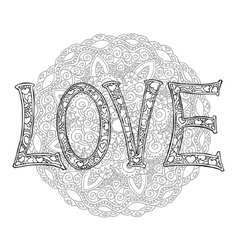 Hand drawn monochrome letters love text with round vector