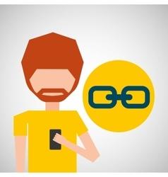 avatar smartphone link social media vector image