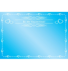 blue card - be my valentine vector image vector image