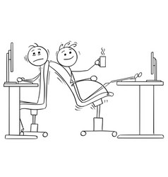 Cartoon of two office workers with lack of space vector