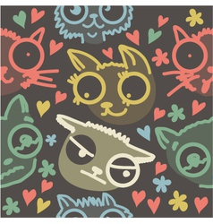 Cat line art background vector image vector image