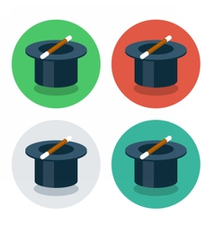 circle flat icon magic hat vector image