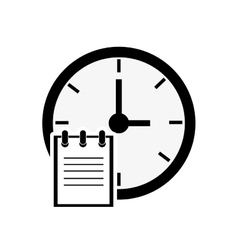 clock and notepad icon vector image vector image