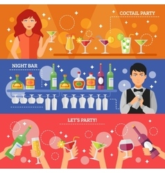Cocktail Party Night Bar Flat Banners vector image vector image