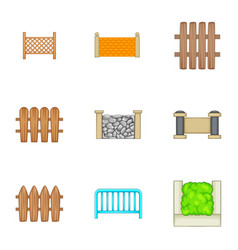 Decorative fences icons set cartoon style vector