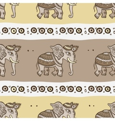 Elephants ethnic seamless background vector