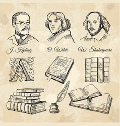 English famous writers and different books vector