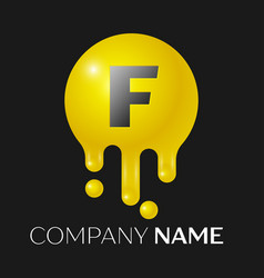 F letter splash logo yellow dots and bubbles vector