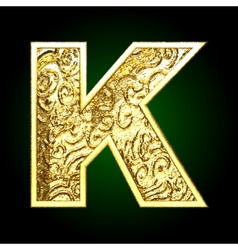 golden cutted figure k vector image vector image