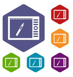 Graphics tablet icons set hexagon vector