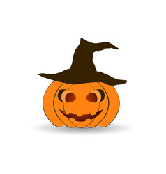 halloween pumpkin in a hat isolated on white vector image
