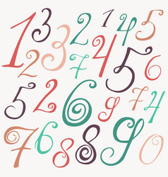 hand drawn numbers sketch vector image vector image