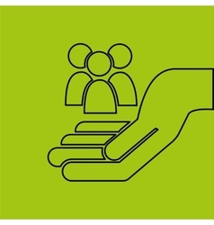 Hand hold group person e-commerce icon vector