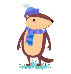 happy groundhog day design with cute marmot in vector image