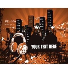 headphones with urban background vector image vector image
