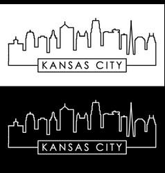 kansas city skyline linear style editable file vector image