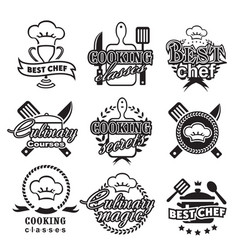 kitchen classes labels cooking silhouette vector image vector image