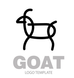 Linear stylized drawing goat or nanny vector