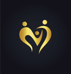 Love heart abstract family group gold logo vector