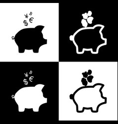 Piggy bank sign with the currencies black vector