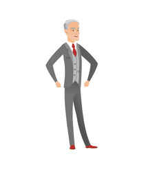 Senior caucasian angry businessman screaming vector