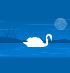 Silhouette of swan on blue background landscape vector