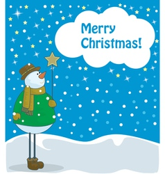 snowman with beautiful star vector image