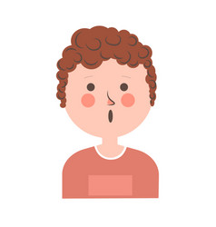 Surprised boy with curly hair portrait on white vector