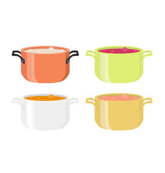 Various soups in pots meal with vegetables meat vector