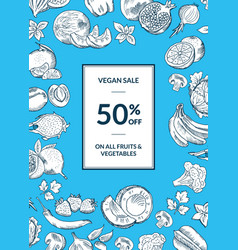 vegan shop sale vertical background with vector image vector image