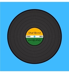 Vinyl record on the blue background vector