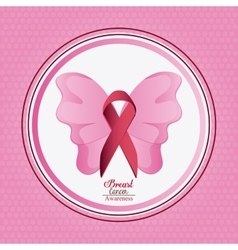 Ribbon butterfly breast cancer design vector