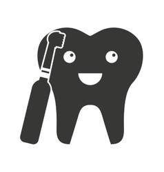 tooth character silhouette with dental care icon vector image