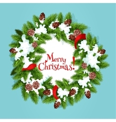 Christmas wreath with ribbon greeting card design vector