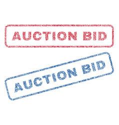 Auction bid textile stamps vector