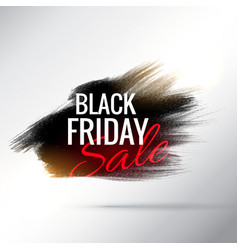 Stylish black friday sale poster with paint brush vector