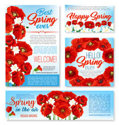 hello spring floral banner card poster template vector image