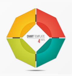 Polygonal circle chart infographic template with 4 vector