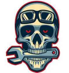 Skull rider bite a wrench vector