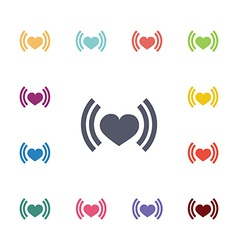 Heart beat flat icons set vector