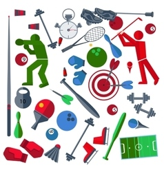 Set athletes sports goods balloons vector