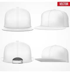 Set layout of male white rap cap vector