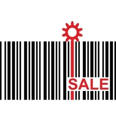 Barcode with red sale text and gear icon vector