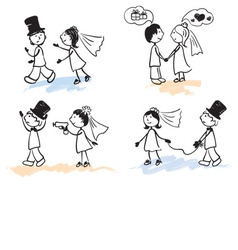 Funny men - wedding vector