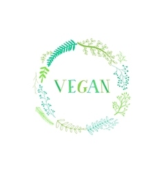 Hand-drawing inscription vegan vector
