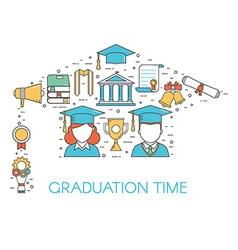 Graduation time lineart concept vector