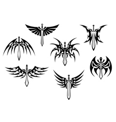 Swords and daggers tribal tattoos vector